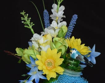Silk Flower Arrangement in Colored Glass Container with Lid