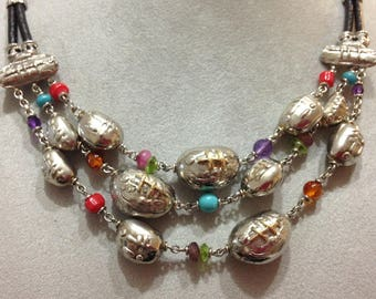 925 Silver, gold 750 necklace stones and colored stones