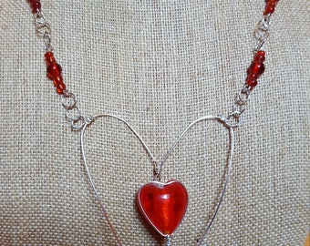 Heart of Glass Wire-wrapped Necklace OOAK