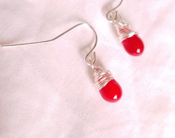 Silver Wire Wrapped Red Glass Drop Earrings