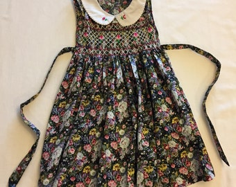 Sleeveless hand smocked hand embroidered Peter Pan collar vintage look dress