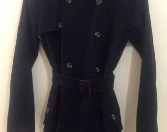 Navy Double Breasted Trench Coat, Size S
