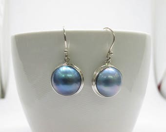 mabe pearl earrings, 14/15 mm round blue mabe pearl earrings, 915 sterling silver earrings, blue mabe set in silver, mabe silver jewelry