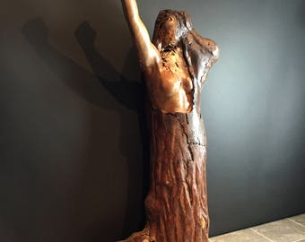 Rise up, spalted wood sculpture,