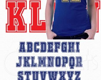 College University Varsity Alphabet Letters Digital Cut Files Svg Dfx Eps Png Silhouette SCAL Cricut Download DIY Vinyl Die Cutting JB-386a