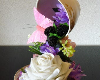 Floating Cup with White Rose and Pink Butterfly