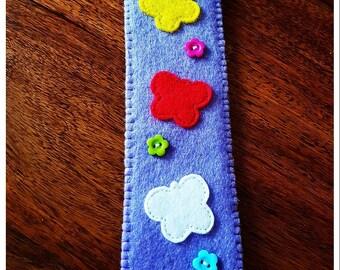 Light purple soft felt bookmark with butterflies