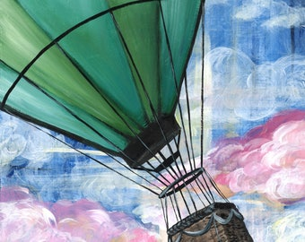 PRINT of Original Acrylic Painting, hot air balloon clouds sky green blue pink bedroom nursery home decor by LizPaloArt