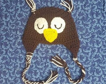Newborn Crochet Owl Beanie