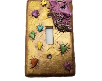 Pink Unicorn Light Switch - Metallic Gold with rainbow Hearts Switchplate Cover-  Polymer Clay Switch Decorative - Plate Cover - Girls  room
