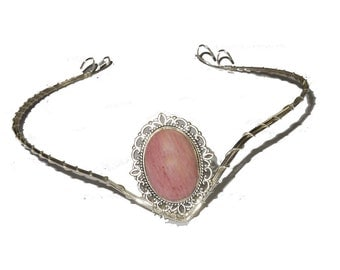 Silver plated elfish tiara circlet with rose gemstone.