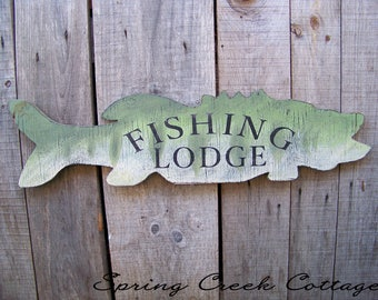 Fishing Lodge, Signs, Handpainted, Lakehouse Decor, Rustic Fish, Home Decor, Lake, Cabin, Home & Living, Wall Decor, Gifts