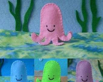 Octopus Finger Puppet - Select a Color - Pink Blue Green Purple Octopus - Felt Octopus Puppet - Felt Finger Puppet Octopus - Felt Octopus