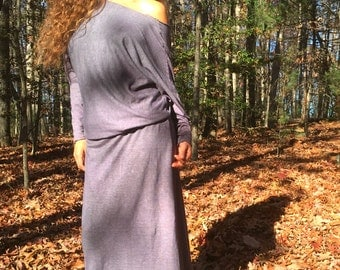 Heart in Hands dress in organic hemp jersey. Made to order. Organic clothing.