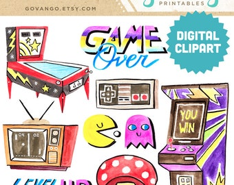 RETRO GAMER Digital Clipart Instant Download Illustration Watercolor Clip Art Collage Arcade Videogame Pinball Pacman 80s 90s Nintendo
