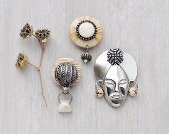 3 Tribal Mask Fridge Magnets -  silver metal tribal face and natural bone - recycled vintage jewelry parts