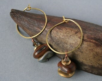 hammered brass hoops with natural brown seeds - earthy dangle earrings - ethnic boho jewelry