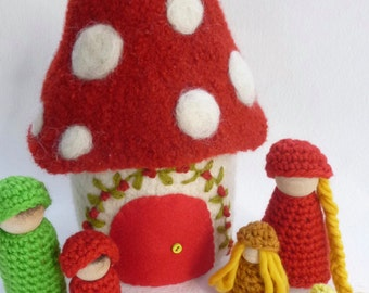 Doll house with family felted wool house wood peg dolls Mushroom design ready to ship