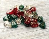 Glass Christmas Tree Beads - Red clear and green with gold inlay pack of 26