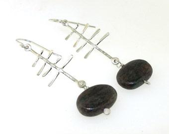 North Shore Tree Earrings, sterling silver and garnet dangle earrings by Kathryn Riechert