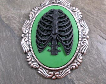 Ribs Brooch - Black and Green - Creepy Jewelry - Anatomical Brooch - Skeleton Cameo - Ribs Brooch - Cameo Pendant