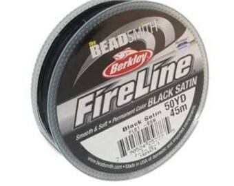Fireline, 6 LB, 50 yard spool, *NEW* Black Satin, Beading Thread, Beading Line