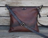 Leather Crossbody Bag / Ready to Ship / Leather Bag / Leather Clutch / Small Handmade Purse /  Zipper Pouch / Convertible Bag Shoulder bag