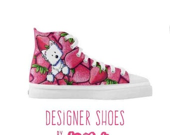 KiniArt Strawberry Westie Zipz High Top Shoes Sneakers