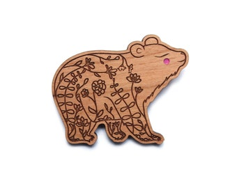 Bear Brooch -  Large / big cherry wood filigree moon bear jewellery jewelry badge pin laser cut flowers