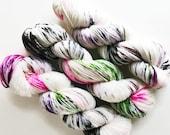 snow vine / hand dyed yarn / superwash merino wool sock yarn / twist fingering yarn/ olive green hot pink purple white yarn / speckle yarn