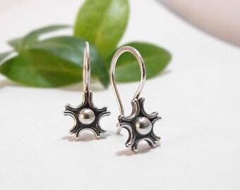 Sterling Silver Earrings Tiny Flower Earrings Floral Earrings Dangle Earrings Drop Earrings Handmade Earrings Small Filigree Flower Earrings