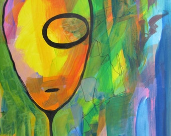 Original Art Acrylic Painting Unframed Face Abstract Funky Stylized Colorful Bright Bold Pink Yellow Black Blue Green Purple
