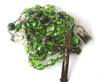 Art Nouveau Rosary Green Glass & Silver Filigree Prayer Beads Y Necklace Jugendstil Antique Rosary Mothers Day Gift Ideas for Her Germany