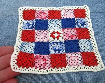 Red white blue miniature crochet afghan, Americana granny square dollhouse bedspread