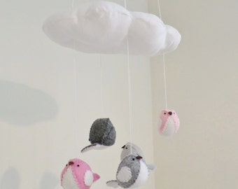 Baby mobile - pink and grey nursery decor - cloud and bird mobile