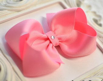 Pink Boutique Hair Bow - 4 sizes - small, medium, large, extra large - pink baby bow - pink toddler bow - girls pink bow - no slip clip