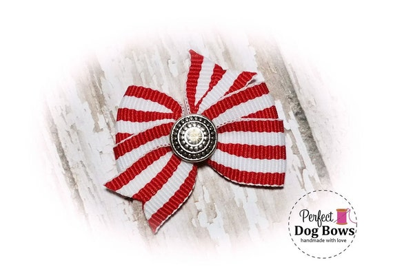 Small Pinwheel - Dog Bow - Red Stripes