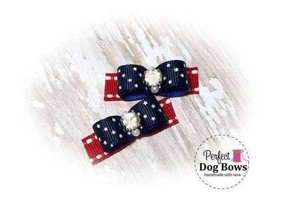 USA Stars Dog Bows, 4th of July Bows, Stars and Stripes