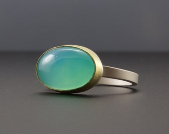 Blue Peruvian Opal Ring - Bezel Set Blue Green Opal Gemstone Cabochon Ring - 18 karat gold - sterling silver - OOAK - Size 6.75 - Artisan