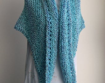 Hand Knit Triangle Shawl Wrap, Soft Textured Acrylic, Vegan, Stylish Chemo Comfort Prayer Meditation Bed Jacket, Ready to Ship FREE SHIPPING
