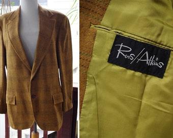 GOLDEN Brown 1960's Vintage Light Brown Plaid Blazer Jacket // by ROOS ATKINS // size Medium Large 40 42