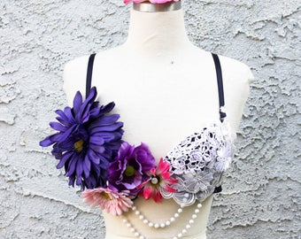 Lace, Flowers & Pearls Festival Bra - 34C Navy Blue Decorated Rave Bra - Coachella EDC Music Festival Outfit Raver Girl Flapper Gogo Style
