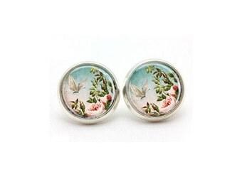 Floral Stud Earrings, Turquiose Flower Post Earrings, Floral Earrings, Springtime Earrings, Gifts for Her, Statement Earrings, Springtime