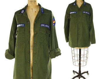 60s OG-107 US Military Shirt / Vintage United States Air Force Civil Air Patrol Button Up / Army Green Cotton / Long Sleeve Fatigues / L