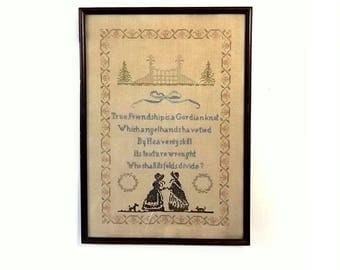 Antique Cross Stitch Sampler, Vintage Early 1900s Folk Art, Friendship Poem in Large Wood Frame 13 x 19