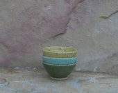 RESERVED LISTING - Teeny Wee Bowls Set of 3 - Handmade Stoneware Pottery Ceramic - Green Celadon, Sun Yellow, and Turquoise
