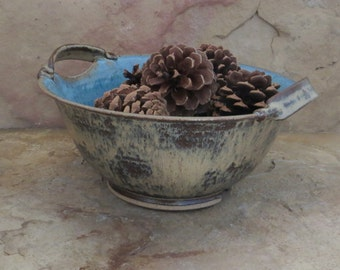 Serving Bowl - Handmade Stoneware Ceramic Pottery - Burnt Iron Brown and Icy  Blue - 1-3/4 Quarts