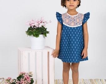 Pineapple & lace chambray dress toddler girls Supayana SS2017