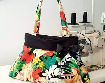 Pinup Purse , Aloha Girls Purse ,Pinup Diaper Bag, Tropical Purse