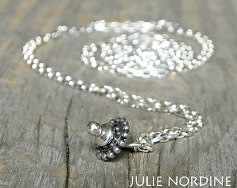 """36"""" or 30"""" Sterling Silver Interchangeable Stacking Bead Necklace Chain . Julie Nordine . Credit River Art Glass"""